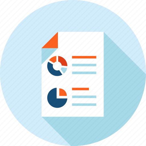 analysis, business, chart, flat design, long shadow, planning, report icon
