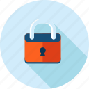 antivirus, flat design, locked, long shadow, padlock, protection, security icon