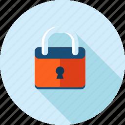 antivirus, flat design, locked, long shadow, padlock, protection, security icon