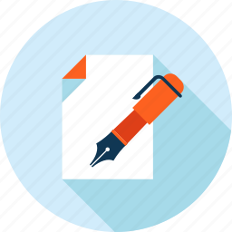 business, contract, document, flat design, long shadow icon