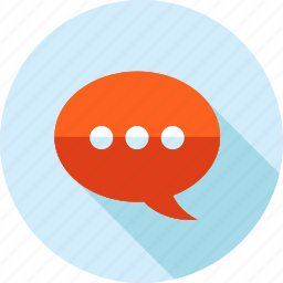chat, communication, contact, flat design, long shadow, support, testimonial icon
