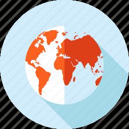 destination, flat design, globe, location, long shadow, navigation icon