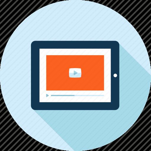flat design, long shadow, marketing, media, movie, tutorial, video icon