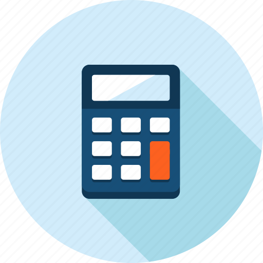 accounting, calculation, calculator, flat design, long shadow, office, tax icon