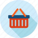 basket, e-commerce, long shadow, sale, shopping icon