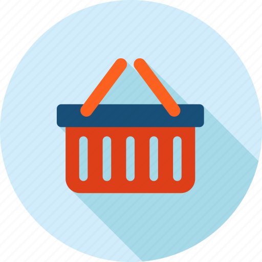 basket, e-commerce, flat design, long shadow, sale, shopping icon