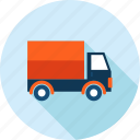 delivery, flat design, long shadow, moving, shopping, transportation, truck icon