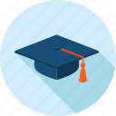 education, flat design, graduate, long shadow, online, school, university icon