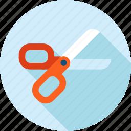 cut, flat design, long shadow, scissors, tool icon