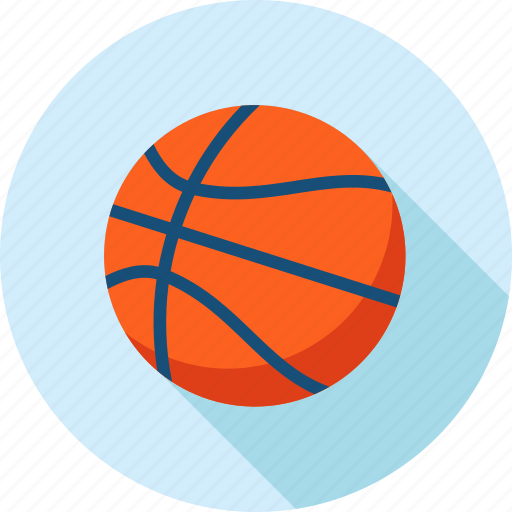 ball, basketball, flat design, long shadow, recreation, sport icon
