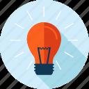 bulb, creativity, flat design, idea, innovation, light, long shadow icon