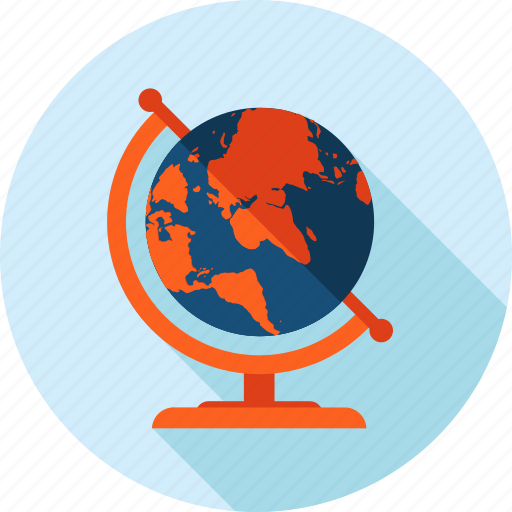 destination, flat design, globe, location, long shadow, travel icon