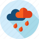 cloud, flat design, forecast, long shadow, nature, rainy, weather icon