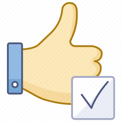approved, certified, checked, complete, tested, thumbs, up icon