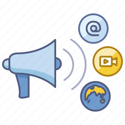 advertising, broadcast, business, influence, marketing, media, social icon