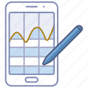 analysis, app, data, graph, line, phone, tracker icon