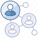 connections, employee, network, relations, social, web icon