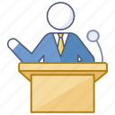 conference, lecture, lecturer, presentation, presenter, speaker, speech icon