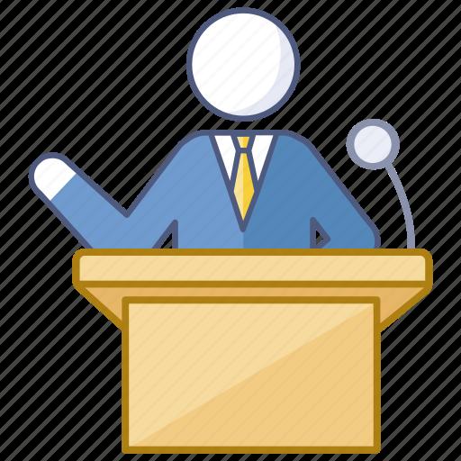 conference, lecture, lecturer, presentation, presenter, speaker, speech icon