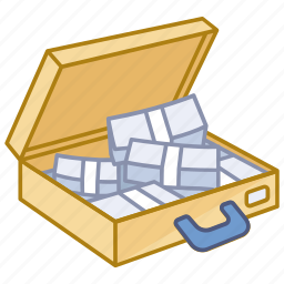 cash, currency, money, savings, suitcase, winnings icon
