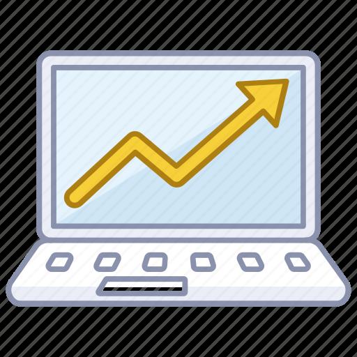 increase, laptop, market, presentation, profits, rise, sales icon