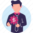 business, businessman, finance, gears, manage, management, money icon