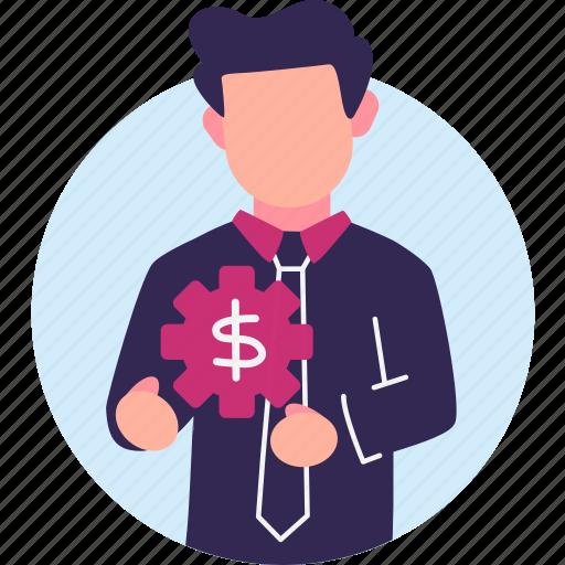 business, businessman, finance, gears, manage, management, money icon