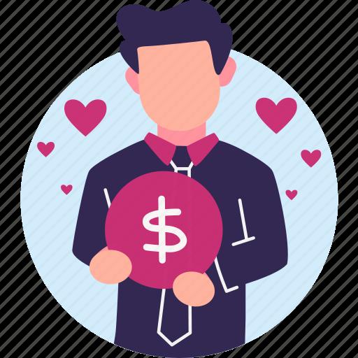 businessman, entrepreneur, financier, income, love money, rich man icon
