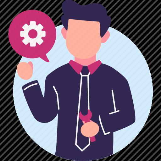 businessman, development, renewal, repair, system repair icon