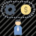 businessman, entrepreneur, investor, management, process icon