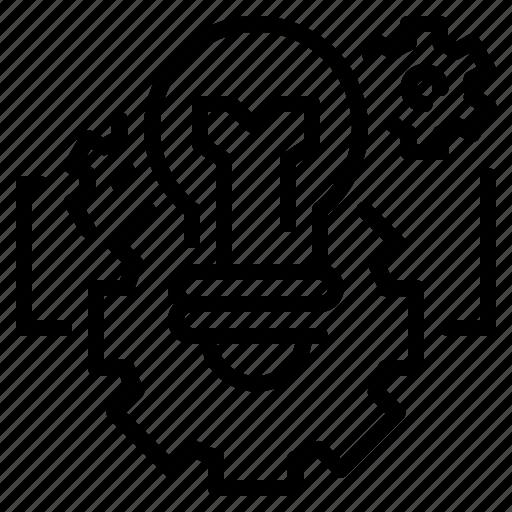 bulb, business, cogwheel, development, idea, innovation, technology icon