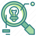 bulb, business, creative, data, idea, magnifying, research