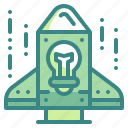 bulb, business, idea, innovation, rocket, spaceship, startup icon