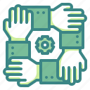 business, combined, gestures, hand, team, teamwork, together icon
