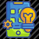 app, application, bulb, business, idea, innovation, phone