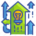 arrow, bulb, idea, new, newway, opportunity, way icon