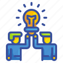 bulb, business, idea, man, partner, team, teamwork
