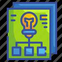 bulb, business, creativity, idea, paper, plan, strategy icon