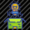 box, bulb, business, creativity, idea, packet, product icon