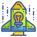 bulb, business, idea, innovation, rocket, spaceship, startup