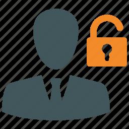 hacker, locked, open lock, password, secure, security, user login icon