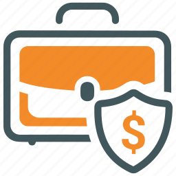 briefcase, business, insurance, money, protection, security icon