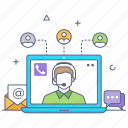 online customer support, customer service, operator, call center, helpline icon