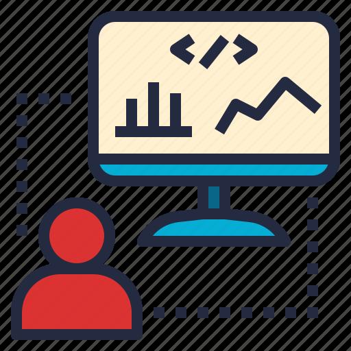 analyze, bi, business, company, developer, planning, research icon