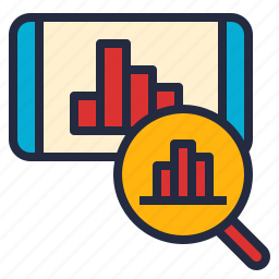 analytics, business, data, graph, phone, techniques icon