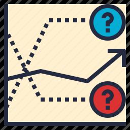 data, determine, direction, forecasting, graph, statistics, trend icon