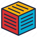 block, cube, data, mining, multidimensional, schema, warehouse icon