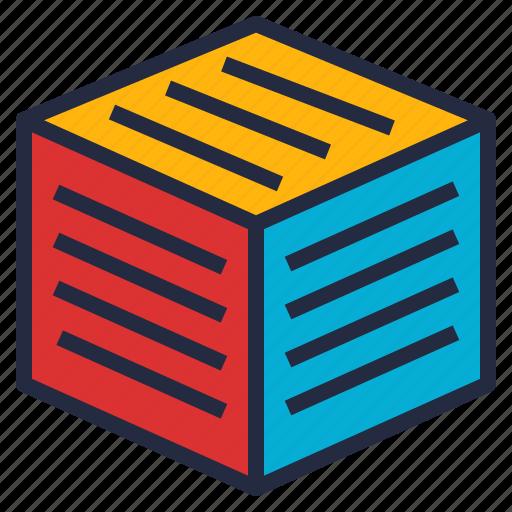 block, cube, data, mining, multidimensional, schema, warehouse icon