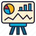 analytics, business, dashboard, data, information, presentation, visual icon
