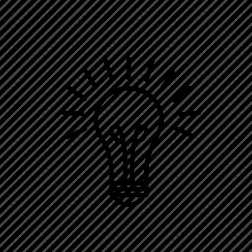 bright, glowing, idea, lampe, light, light bulb icon